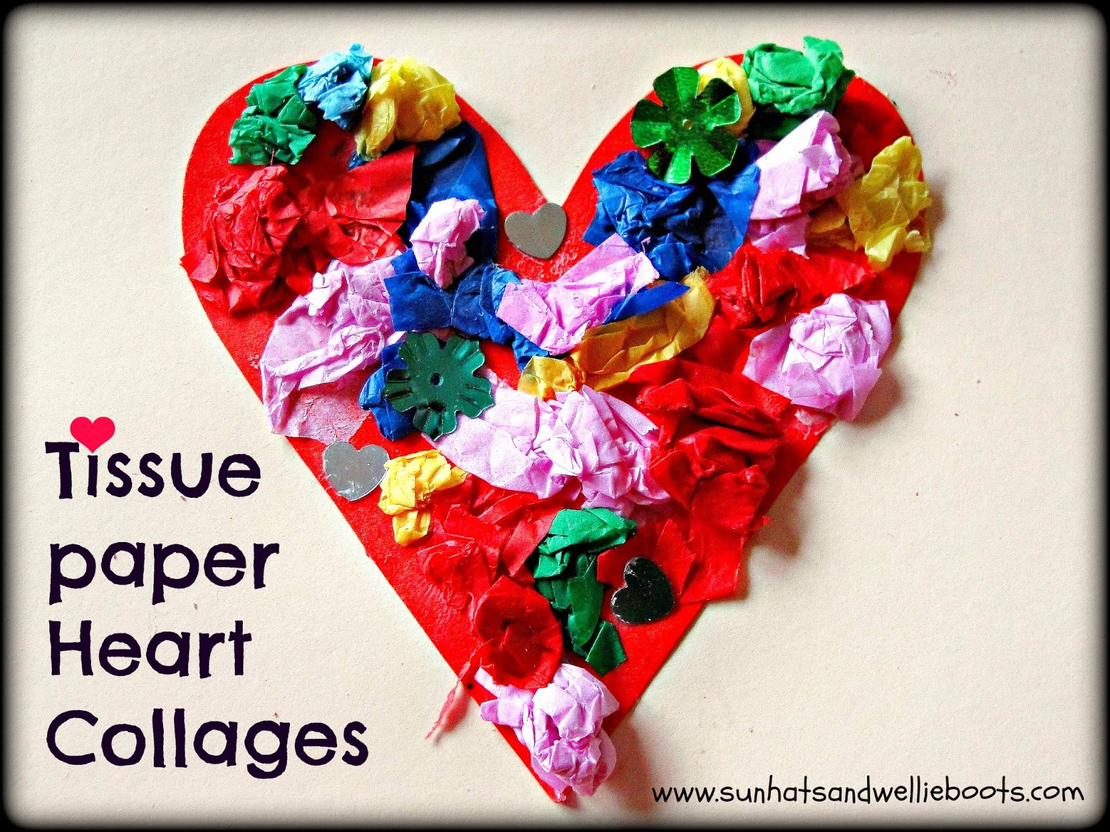 Sun Hats Amp Wellie Boots Tissue Paper Heart Collage