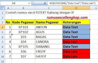 contoh data gabungan rumus ISTEXT dan IF