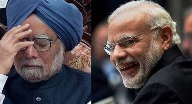 Manmohan Singh & Narendra Modi's pic. Both PMs or Prime Ministers of India