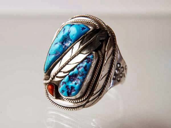 Men's ring set with turquoise and red coral designed and handcrafted by Zhaawano Giizhik