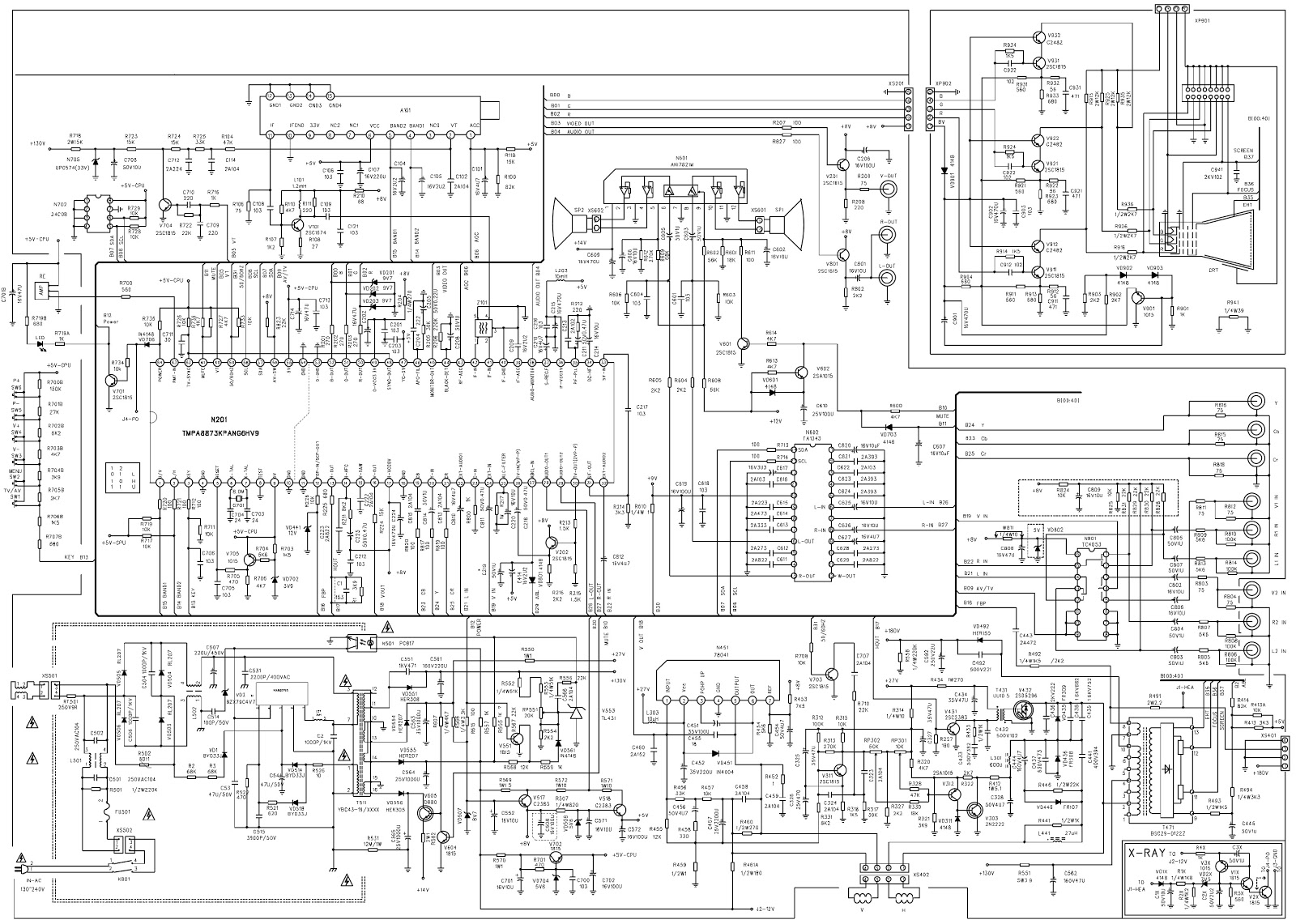 colour tv circuit diagram tmpa8873kpang6hv9 syscon chroma ic palntsc crt tv circuit diagram and pwb schematic diagrams [ 1600 x 1141 Pixel ]