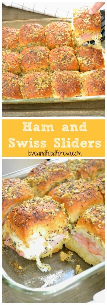 HAM AND SWISS SLIDERS #lunch #appetizer #party #ham #swiss #slidder