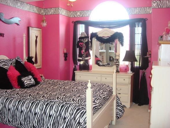 zebra print room ideas with pink wall colors