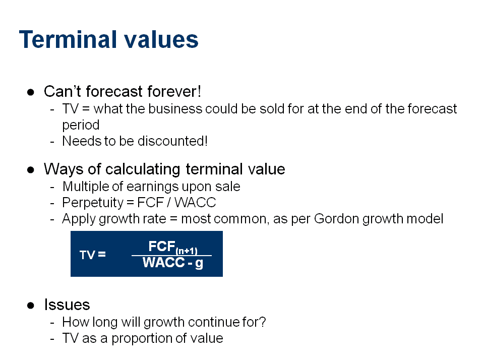 Arcadian: Cash Flow and Terminal Value