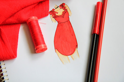 Red Dress Fashion Illustration by Mademoiselle Mermaid