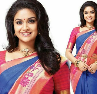 Keerthy Suresh in Blue Saree with Cute Smile in AVR Jewellers Ad