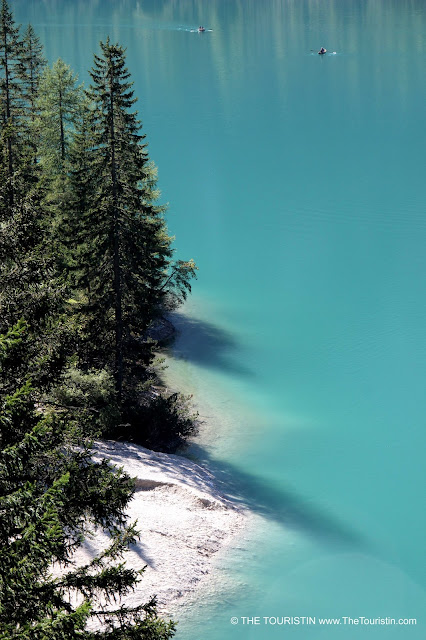 The turquoise water of the Lago di Braies in the UNESCO natural heritage-listed Prags Dolomites.