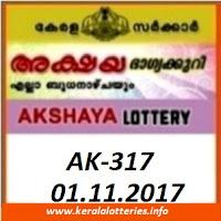 Akshaya AK-317 Lottery Result on 01.11.2017