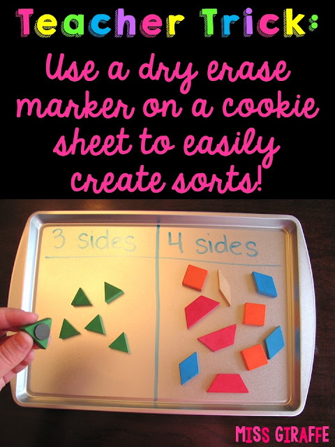 Use a dry erase marker to write on cookie sheets to create a ton of fun math sorts! So many teach ideas on this site!