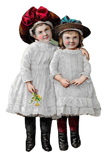 girls children victorian dresses hats fashion clipart image illustration