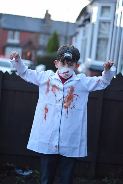 Boy Dressed in Simple The Demon Dentist Costume for World Book Day