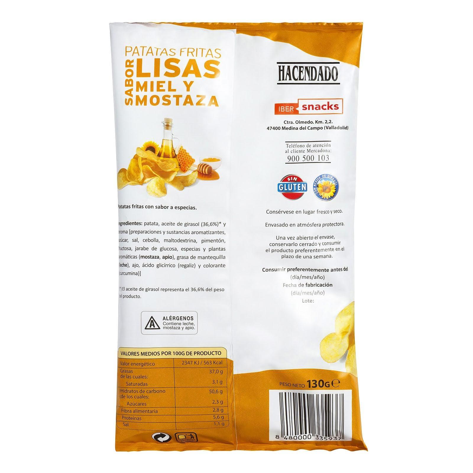 Patatas fritas lisas sabor miel y mostaza Hacendado