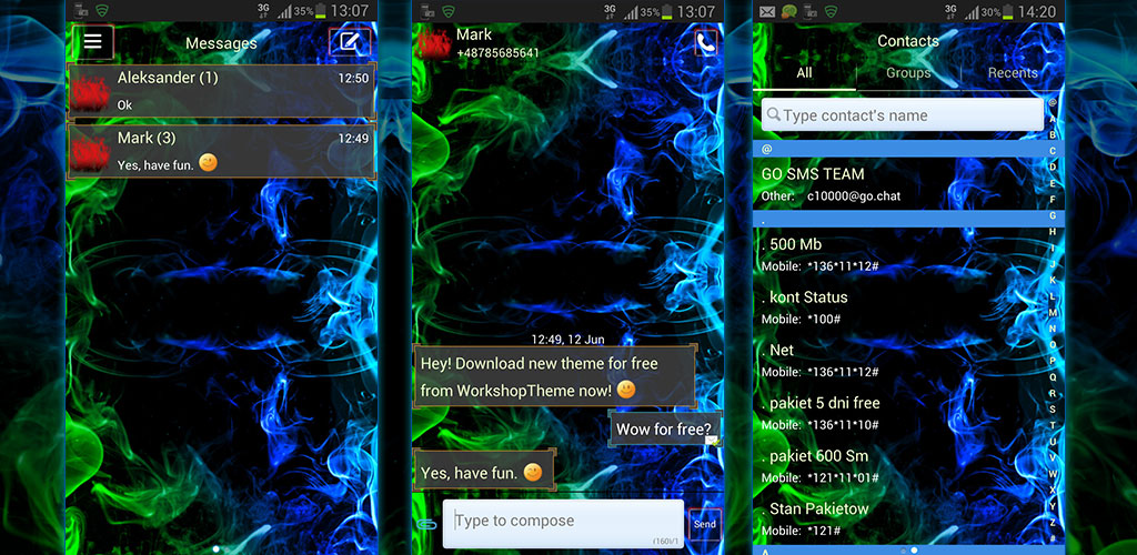 Free Go Sms Pro Themes For Android