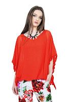 Bluza rosie cu maneca tip fluture D2545-R