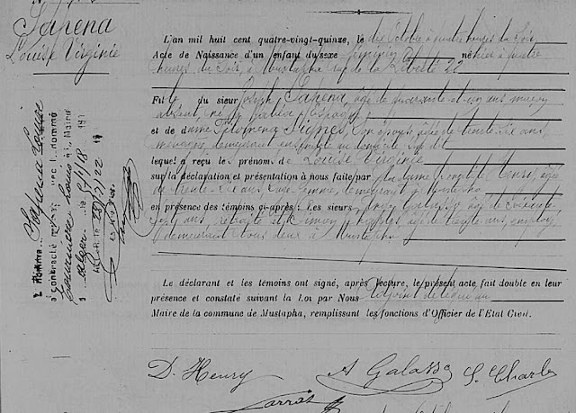 Acte de naissance de Louise Virginie SAPENA