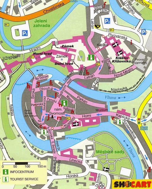 Cesky Krumlov center map