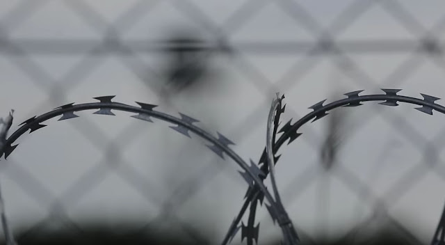 A close up of fencing at Hungary's southern border with Serbia.