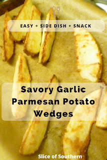 Crispy on the outside and tender on the inside with garlc and melted Parmesan all over the top!  HEAVEN  Savory Garlic Parmesan Potato Wedges - Slice of Southern