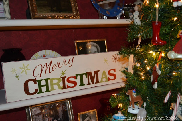 Merry Christmas Wooden Sign On A Shelf