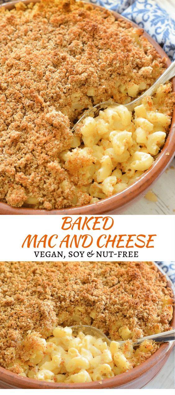 Baked Vegan Mac and Cheese #cheese #vegan #baked