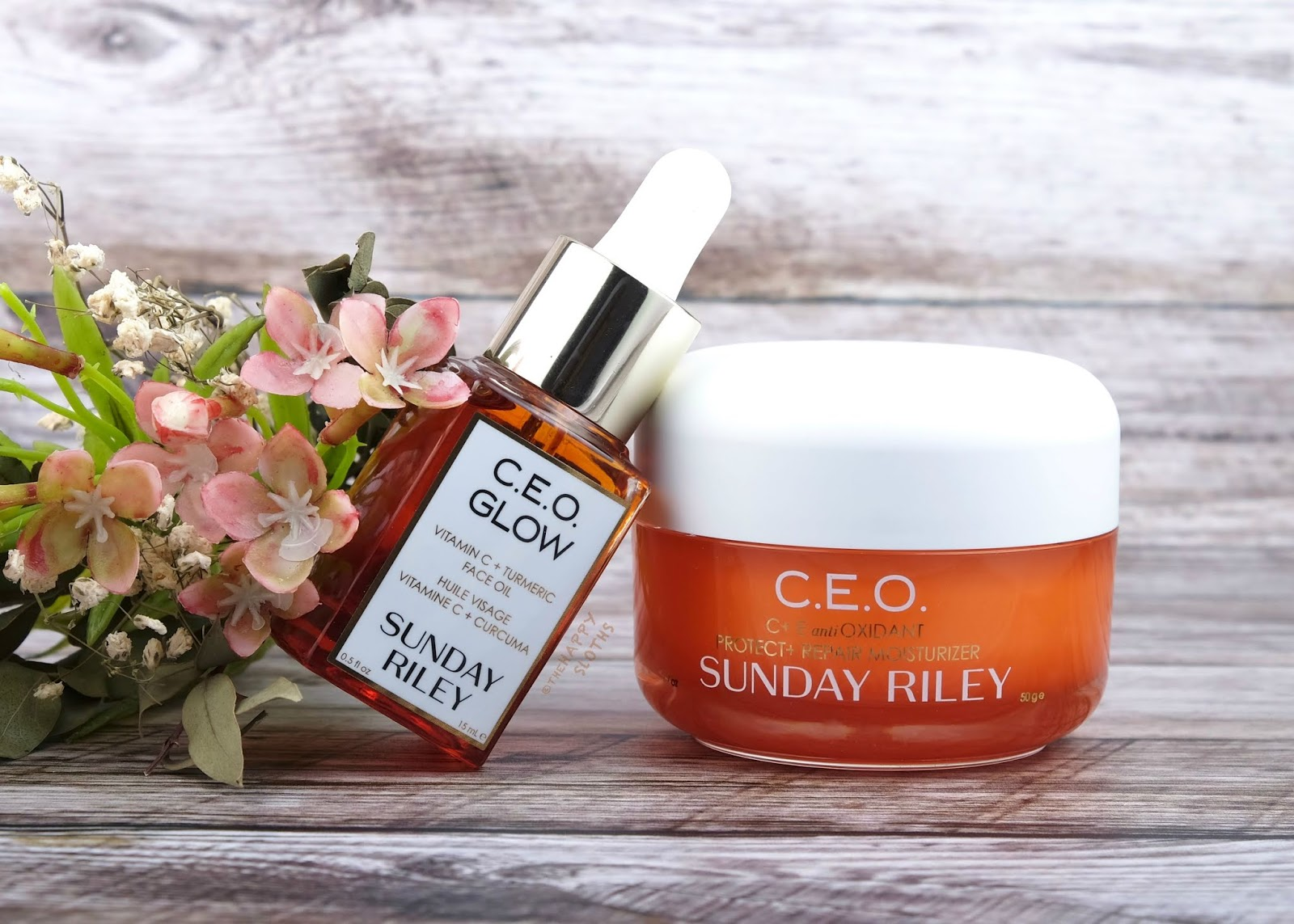 Sunday Riley C E O Glow Vitamin C Turmeric Face Oil C E O Vitamin C Rich Hydration Cream Review The Happy Sloths Beauty Makeup Review Blog Swatches Beauty Product Reviews