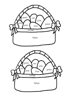 Free printable color by color word Easter basket