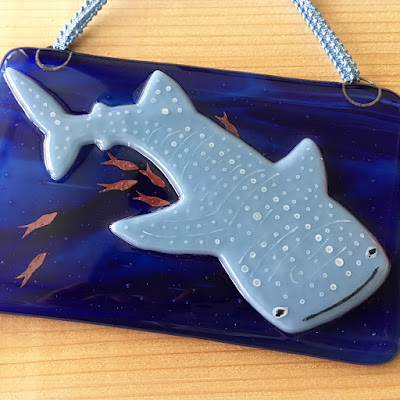 Whale Shark Japanese Ocean Churaumi Aquarium Handmade Glass Fused Sharon Warren FluterbyButterfly sharonwarrenglass Bullseye Whaleshark Sharon Warren Glass