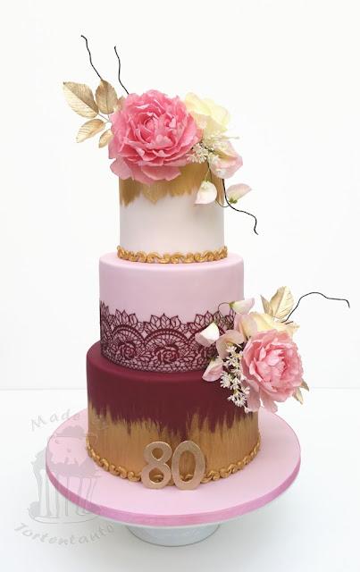 Fondant Geburtstagstorte mit Zuckerblumen