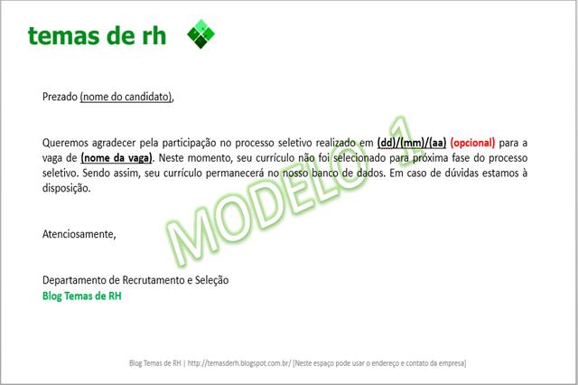 Confira o modelo de retorno processo seletivo para informar o candidato se houve aprovação na entrevista.