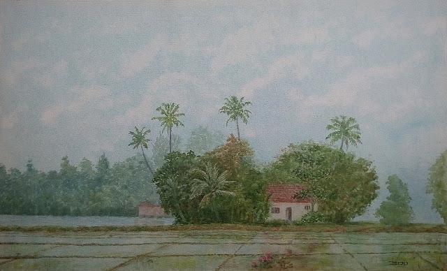 kuttanad landscape painting by Biju P Mathew