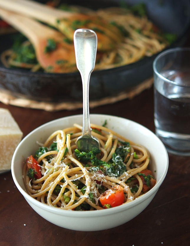 Spaghetti with Greens and Cherry Tomatoes