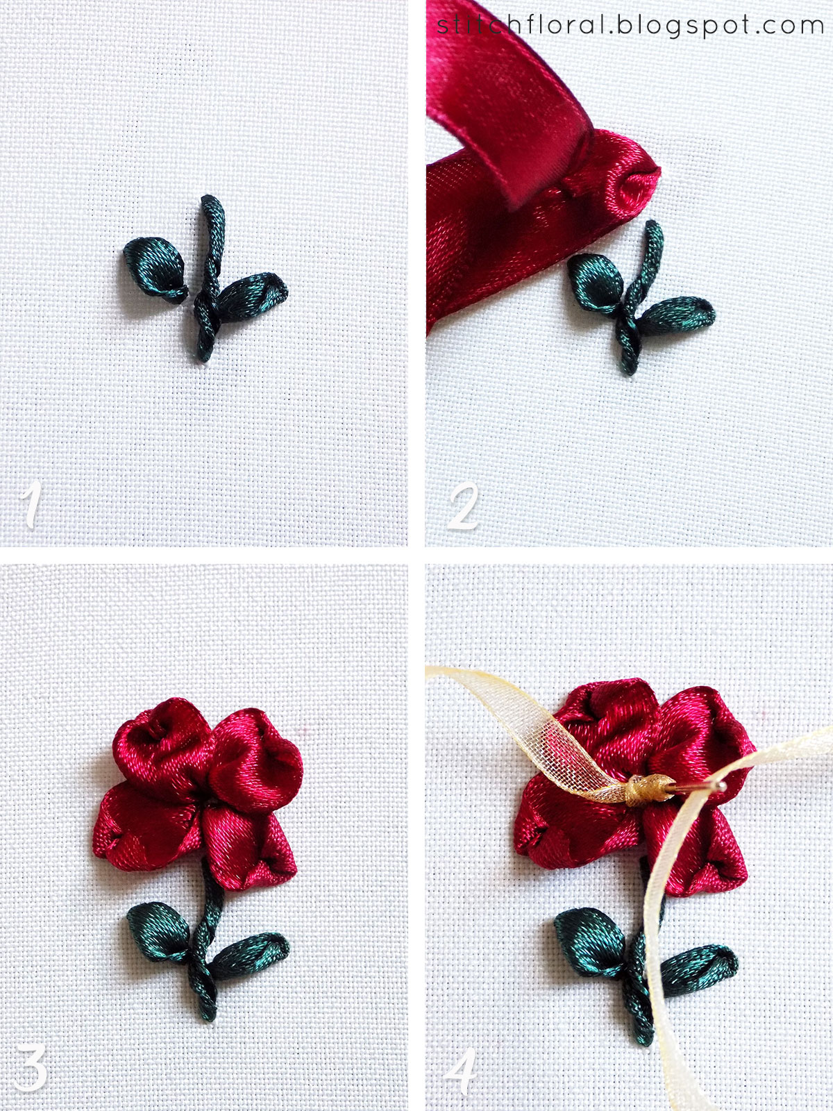 5 basic stitches for ribbon embroidery