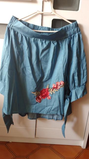 Recebidos Loja Rosegal, blusa jeans, blusa ombro a ombro