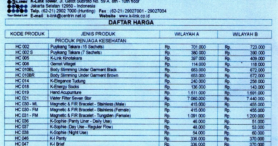 K Link Distributor Daftar Harga Produk K Link Indonesia