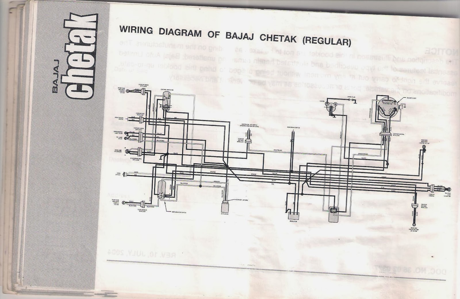 bajaj chetak 2005 model owners manual [ 1600 x 1042 Pixel ]