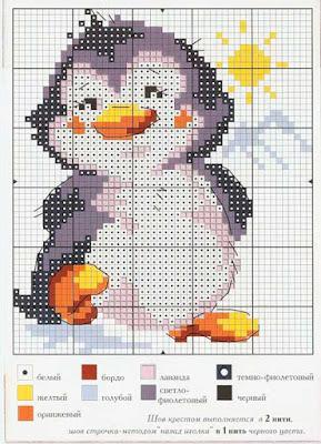 Esquema punto de cruz pingüino muy simpático