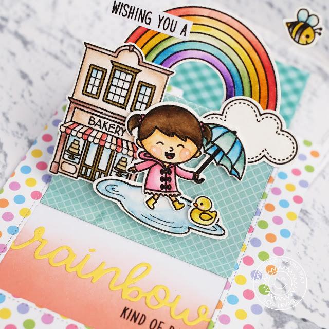 Sunny Studio Stamps: Over The Rainbow Rainbow Word Die Froggy Friends Rain Or Shine Sliding Window Dies Rainbow Themed Cards by Lexa Levana