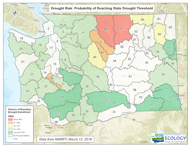 Map of Washington state. Methow and Okanogan show as 78% chance of reaching drought conditions.