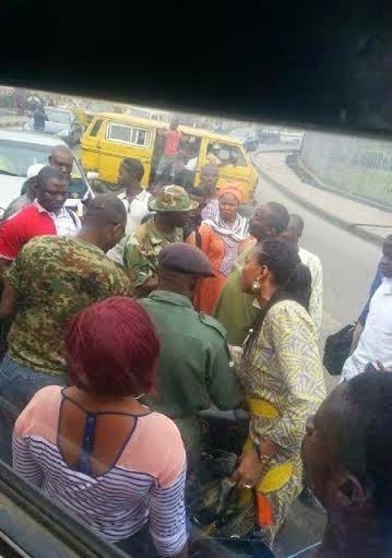 See Photos as Lagosians Challenge Military Officers for Driving Against Traffic