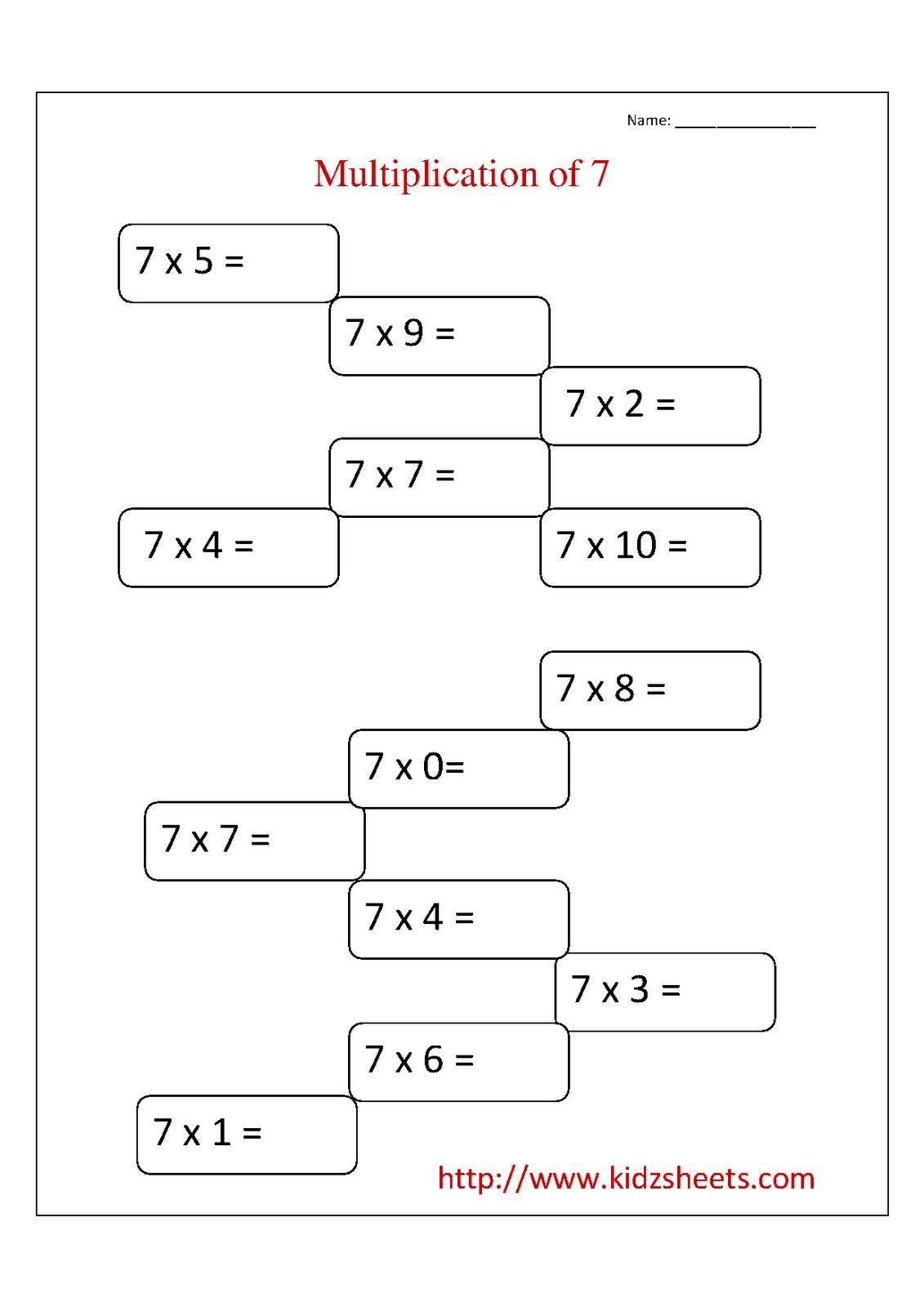 medium resolution of Kidz Worksheets: Second Grade Multiplication Table 7