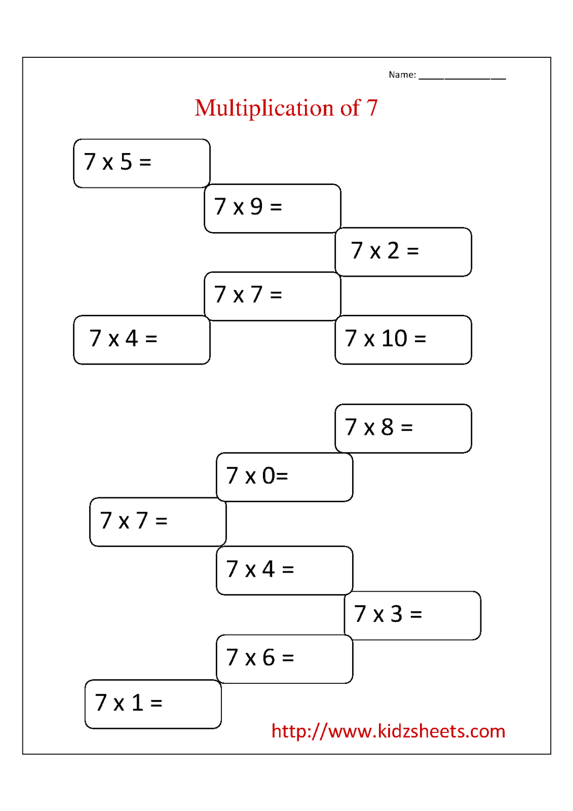 small resolution of Kidz Worksheets: Second Grade Multiplication Table 7