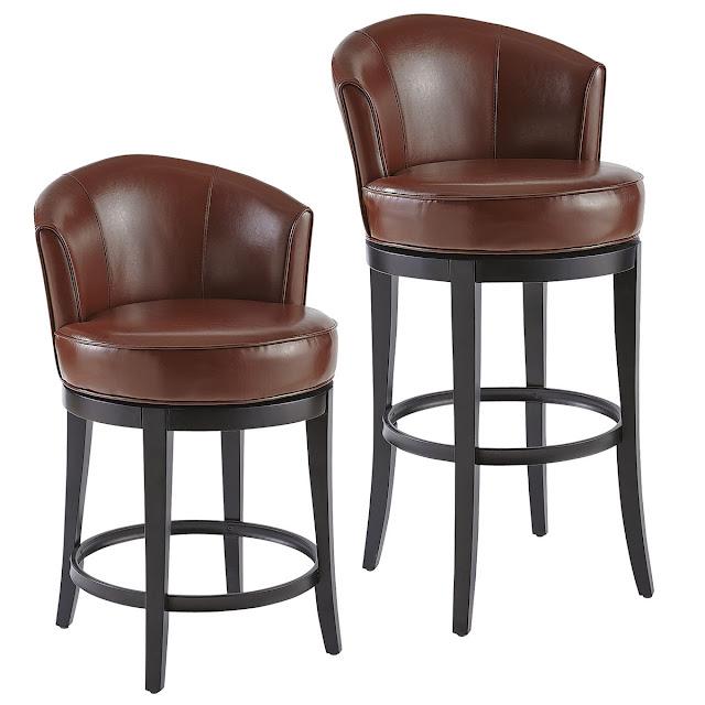 коричневая модель барных стульев сIsaac Ivory Swivel Bar & Counter Stool