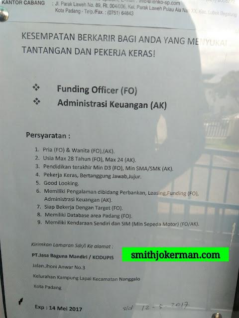 Lowongan Kerja Padang: PT. Jasa Bangunan Mandiri Mei 2017