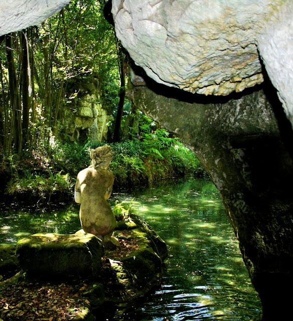 statua, acqua, alberi, laghetto, vegetazione