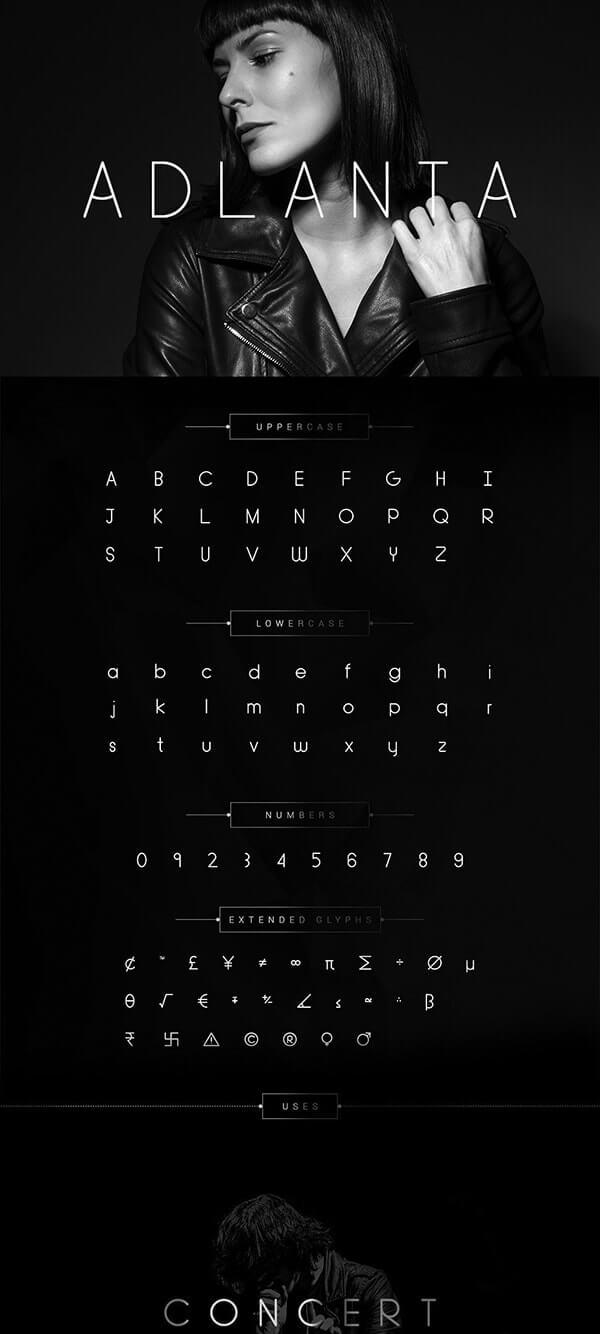 Download Gratis Sans Serif Komersial Font - Adlanta Typeface