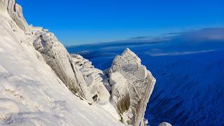 Grande Gendarme winter climbing on Cnap Coire na Spreidhe Cairngorms