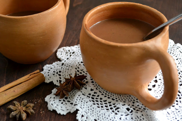 clay mugs of Mexican Hot Chocolate Atole