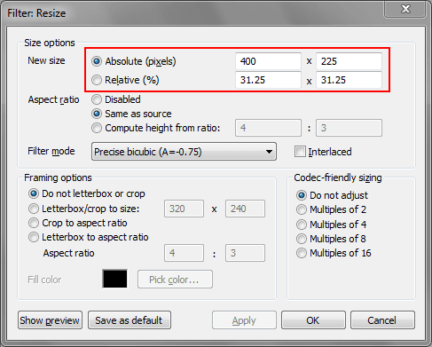 resize by pixels or percentage