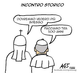 papa francesco, patriarca kirill, cattolici. ortodosii, ecumenismo, religioni, vignetta satira