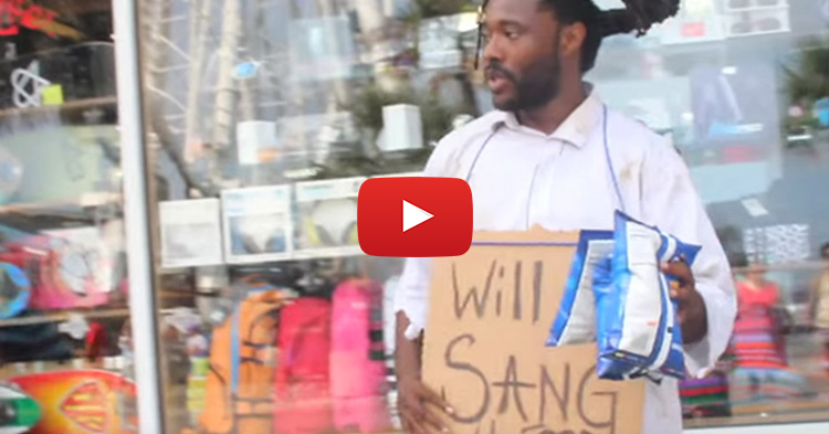 "Homeless man with amazing voice sings ""All Of Me"" in exchange of food"